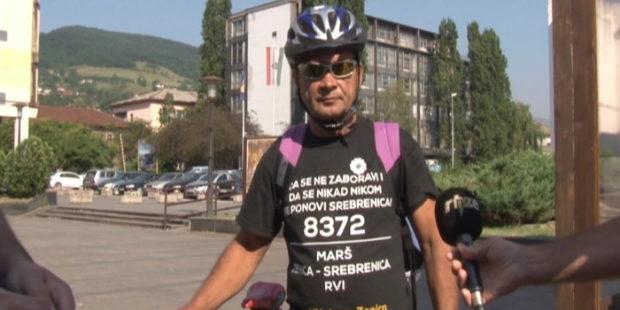 Zahid Gašić na biciklu do Srebrenice
