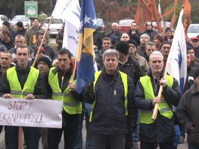 Protestni skup radnika ArcelorMittal Zenica