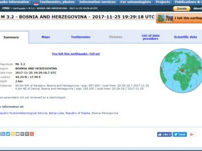 Zabilježen zemljotres u Zenici, 3,2 Rihtera